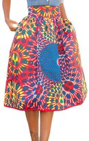 Happy Sailed Women Fashion Casual A-Line African Print Skater Midi Skirt, Africa Print