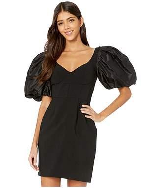 Prabal Gurung Stretch Crepe Corset Dress w/ Puff Sleeve (Black) Women's Clothing