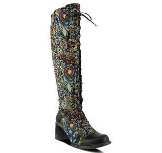 Spring Step L'Artiste Leather Floral Jaquard Lace-up Tall Boots - Rarity