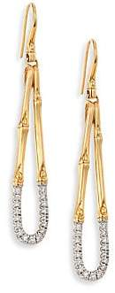 John Hardy Women's Bamboo Diamond & 18K Yellow Gold Drop Earrings
