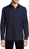 Armani Collezioni Flocked Square Sport Shirt, Midnight