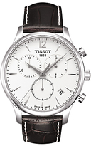 Tissot T0636171603700 Tradition Chronograph Date Leather Strap Watch, Dark Brown/white