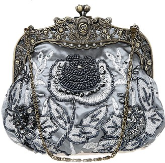 Belsen Women's Vintage Beaded Sequin Flower Evening Handbags (Red wine)