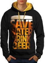 Save Water Drink Beer Booze Men M Contrast Hoodie   Wellcoda