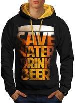 Save Water Drink Beer Booze Men NEW M Contrast Hoodie | Wellcoda