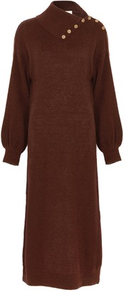 By Ti Mo Brown wool-blend jumper dress