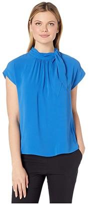 Vince Camuto Short Sleeve Extended Shoulder Shirred Tie Neck Blouse (Deep River) Women's Blouse