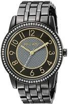 Nine West Women's NW/1745BKGN Easy To Read Swarovski Crystal Accented Bracelet Watch