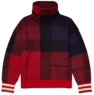 Tommy Hilfiger Adaptive Women's Icon Check High-Neck Sweater with Wide Neck Opening