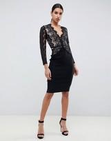 Rare London bodycon midi dress with scalloped lace detail in black