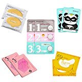 CCbeauty 10-Pack Face Care Mask Under Eye Mask Sheets-Collagen Crystal Gold Plumper Mask Lip Mask Moisturizing Eye Treatment Mask Nose Strips Facial Pore Cleanser Strips for Blackhead Care MIX Package