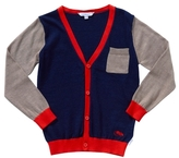 Little Marc Jacobs Boy's Contrast Sleeve Knit Mini Me Cardigan - Blue Beige