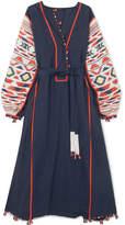 Eres Vita Kin Regatta Embroidered Linen Dress - Navy