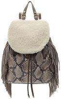 Sam Edelman Fifi Fringe Snake-Embossed Leather and Sherpa Backpack