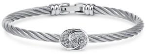 Charriol White Topaz Bangle Bracelet (1/4 ct. t.w.) in Sterling Silver & Stainless Steel