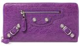 Balenciaga Giant Zip Around Continental Leather Wallet
