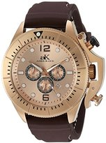 Adee Kaye Men's Quartz Stainless Steel and Leather Dress Watch, Color:Brown (Model: AK9041-MRG(SIL))