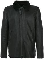 Closed fur-trim jacket - men - Lamb Skin/Lamb Fur - M