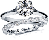 Ice 1 3/7 CT TW Forever Classic Moissanite 14K White Gold Vintage Bridal Set with Diamond Accents