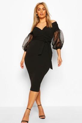 boohoo Plus Off The Shoulder Organza Sleeve Midi Dress