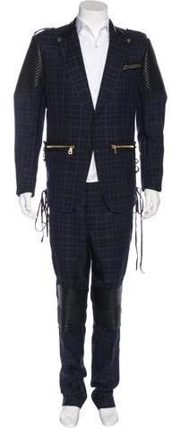 Gucci Plaid Leather-Trimmed Suit