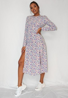 Missguided Purple Floral Print Ruched Bust Midi Dress