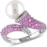 Sofia B 8mm-8.5mm FW Cultured Pearl Silver Ring with Diamond and Sapphire Accents