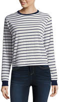 Arizona Long Sleeve Round Neck Stripe T-Shirt-Womens Juniors
