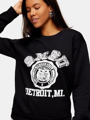 Topshop College Sweatshirt - Black