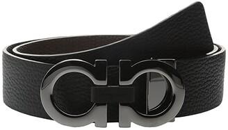 Salvatore Ferragamo Reversible/Adjustable Belt - 678783 (Nero/Hickory) Men's Belts