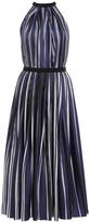 Martin Grant Sleeveless Pleated Striped Silk Dress