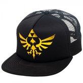 Bioworld Official Nintendo Legend of Zelda Triforce Gold Print Trucker Hat Adjustable