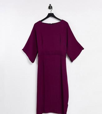 Closet London Plus ribbed pencil dress in plum