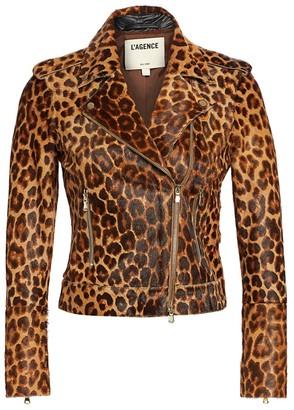 L'Agence Leopard Print Leather Biker Jacket
