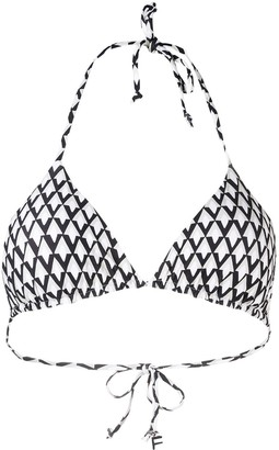 Fisico Geometric-Print Triangle Bikini Top
