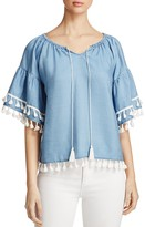 Bagatelle Tassel Trim Peasant Top - 100% Exclusive