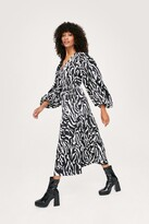 Thumbnail for your product : Nasty Gal Womens Zebra Print Long Sleeve Midaxi Wrap Dress - Black - 10