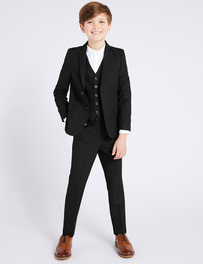 Age 9-10 years Boy/'s M/&S Black Long Length School Trousers New.