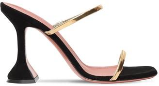 Amina Muaddi 100mm Gilda Metallic Leather Sandals