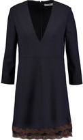 Chloé Lace-trimmed stretch-wool mini dress