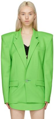 ATTICO Green Exaggerated Shoulder Blazer