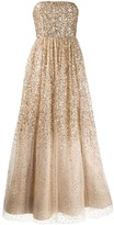 Alice + Olivia Alice+Olivia silk embroidered flared maxi dress
