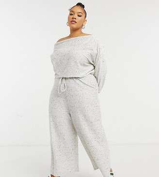 ASOS DESIGN curve jersey slouchy off shoulder jumpsuit in gray rib