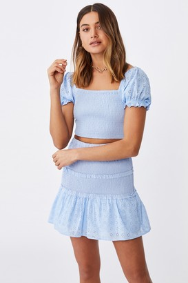 Supre Tiffany Shirred Puff Sleeve Top