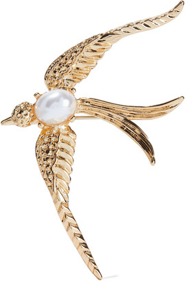 Kenneth Jay Lane 22-karat Gold-plated Faux Pearl Brooch