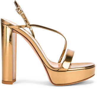 Gianvito Rossi Kimberly Strappy Sandal Heels in Gold | FWRD