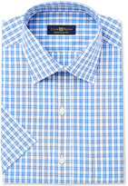 Club Room Men's Classic/Regular Fit Pink Blue Cross Short Sleeve Dress Shirt, Only at Macy's