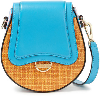 Emilio Pucci Paneled Leather And Faux Raffia Shoulder Bag