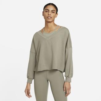 Nike Women's Fleece V-Neck Top Yoga Luxe