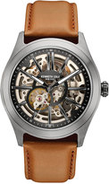 Kenneth Cole New York Men's Automatic Brown Leather Strap Watch 44x52mm 10030817